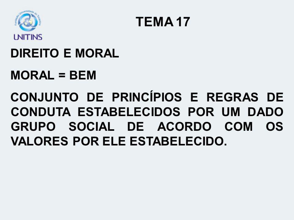 TEMA 17 DIREITO E MORAL MORAL = BEM