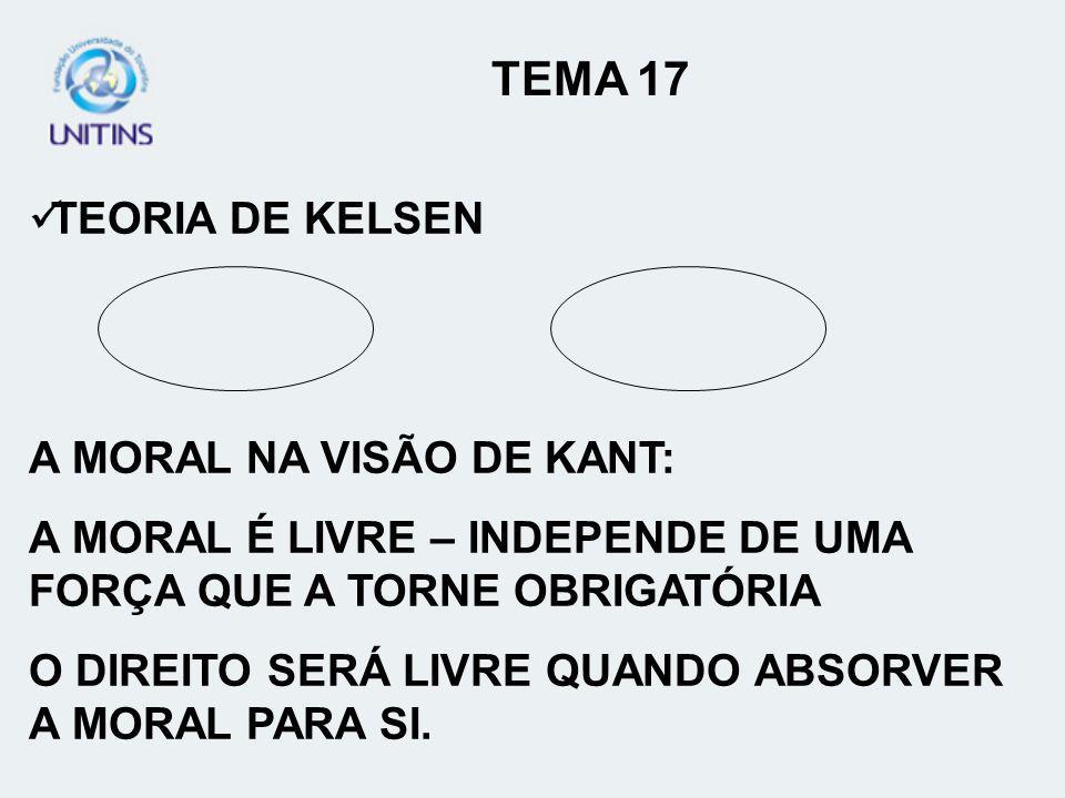 TEMA 17 TEORIA DE KELSEN A MORAL NA VISÃO DE KANT:
