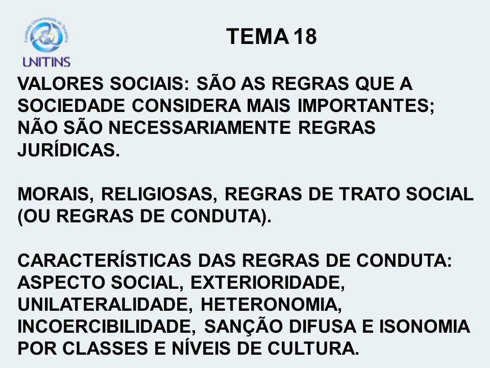 TEMA 18 VALORES SOCIAIS: SÃO AS REGRAS QUE A SOCIEDADE CONSIDERA MAIS IMPORTANTES; NÃO SÃO NECESSARIAMENTE REGRAS JURÍDICAS.