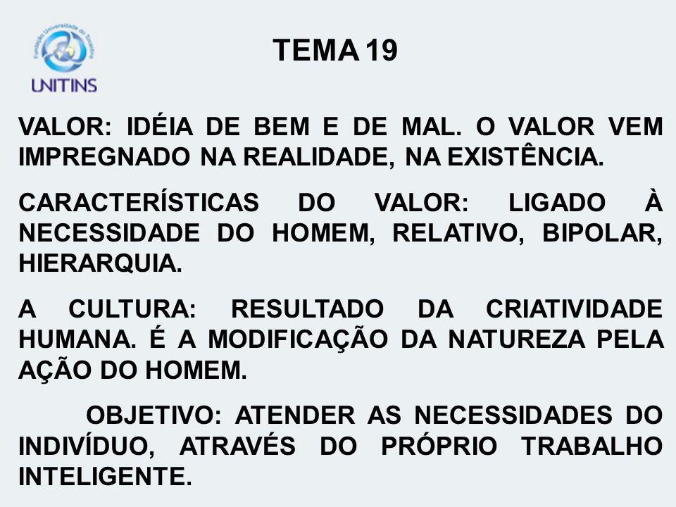 TEMA 19 VALOR: IDÉIA DE BEM E DE MAL. O VALOR VEM IMPREGNADO NA REALIDADE, NA EXISTÊNCIA.