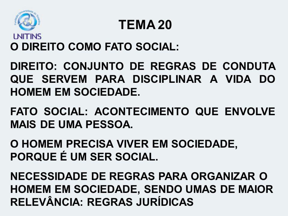 TEMA 20 O DIREITO COMO FATO SOCIAL: