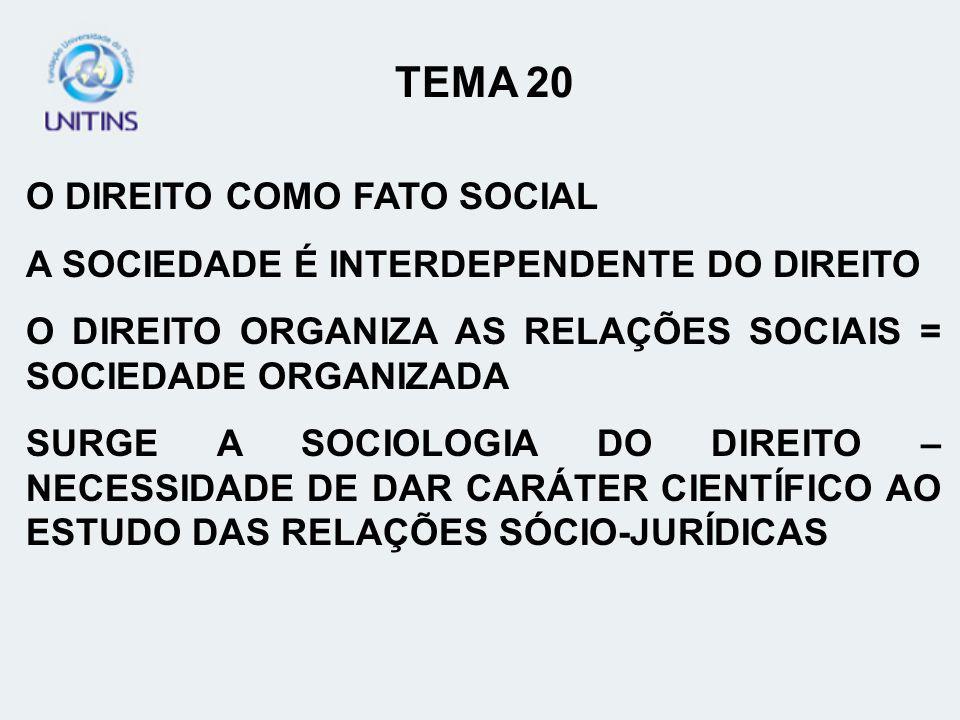 TEMA 20 O DIREITO COMO FATO SOCIAL
