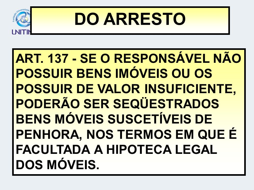 DO ARRESTO