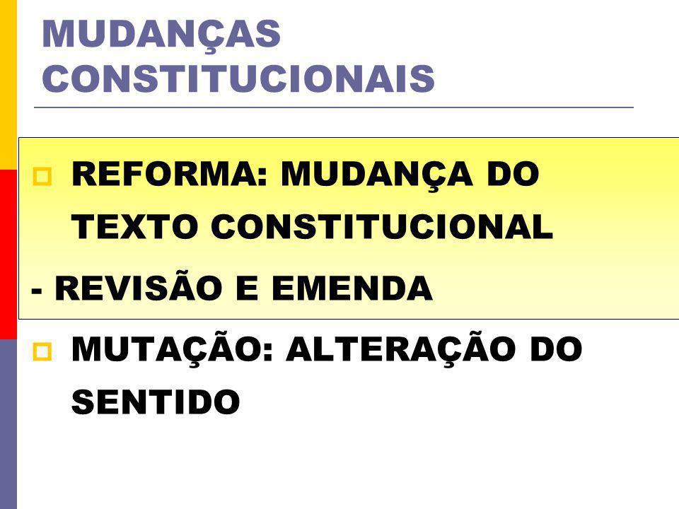 MUDANÇAS CONSTITUCIONAIS