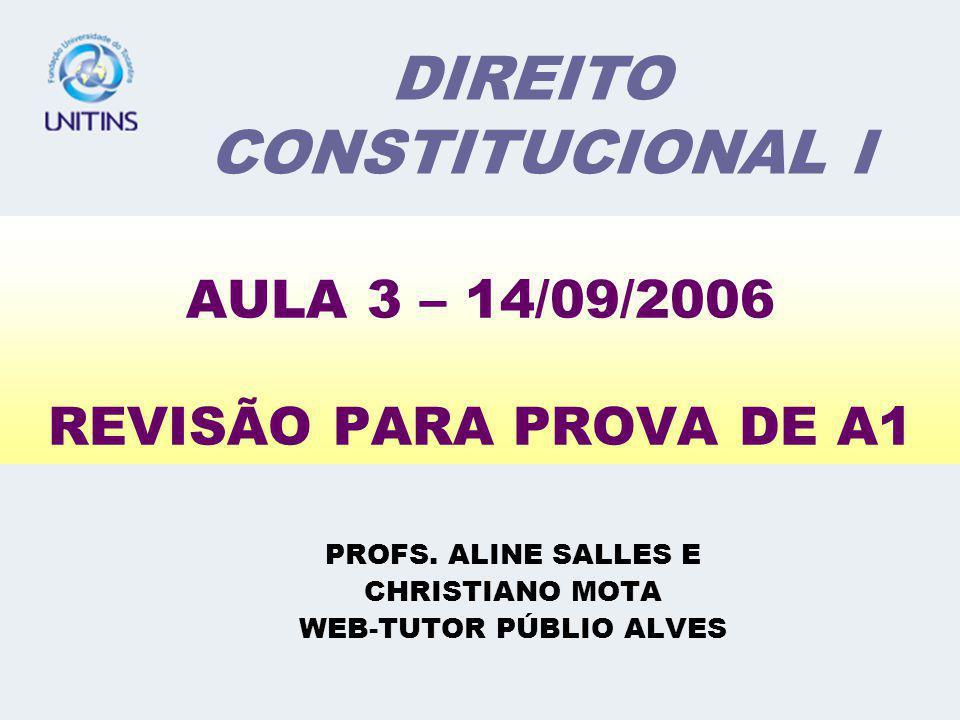 AULA 3 – 14/09/2006 REVISÃO PARA PROVA DE A1