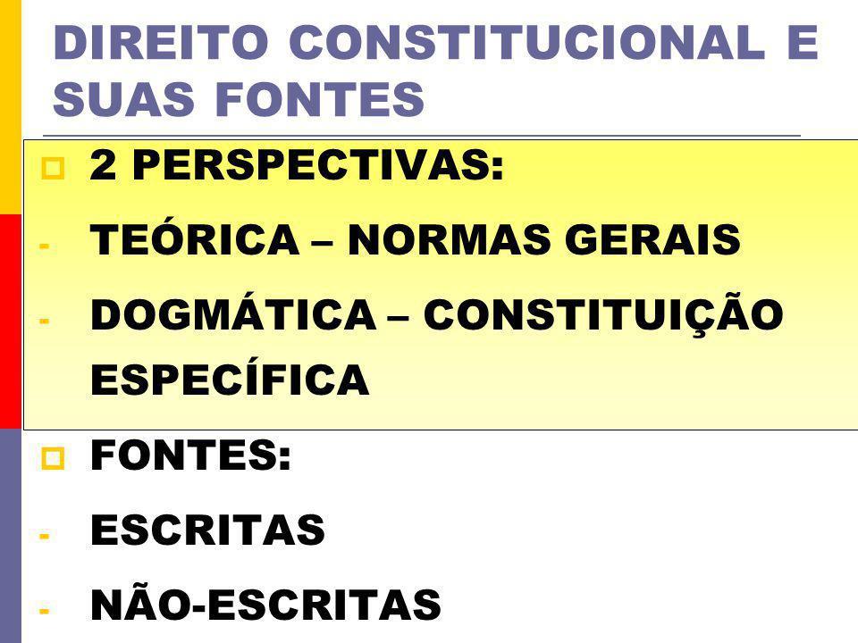 DIREITO CONSTITUCIONAL E SUAS FONTES