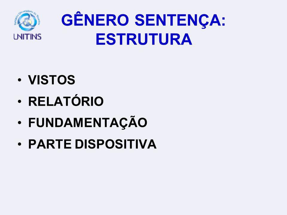 GÊNERO SENTENÇA: ESTRUTURA