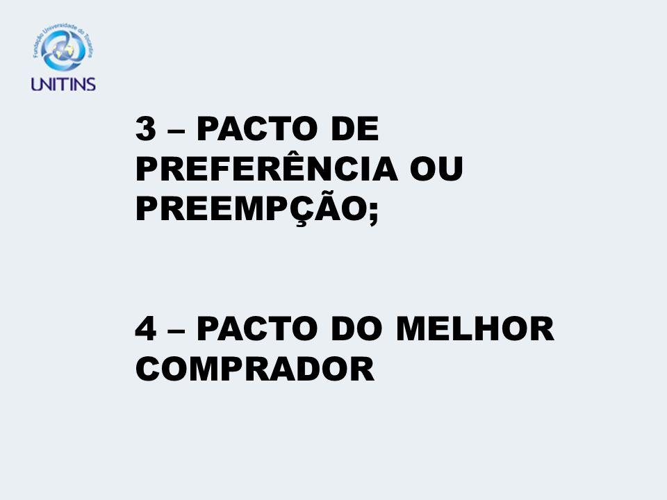 3 – PACTO DE PREFERÊNCIA OU PREEMPÇÃO;