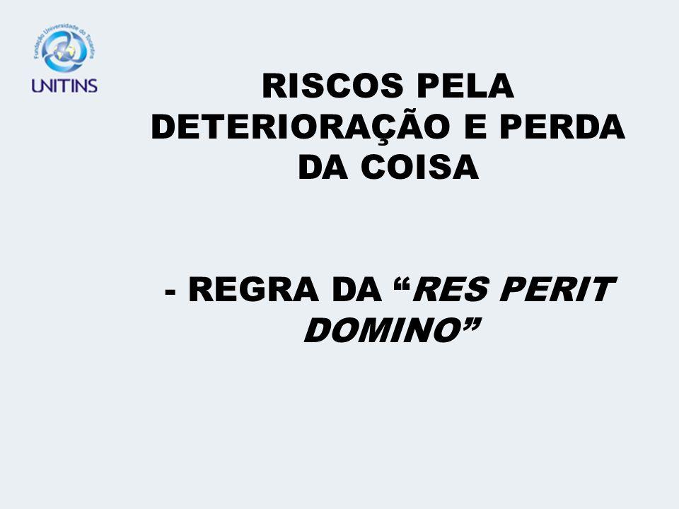 RISCOS PELA DETERIORAÇÃO E PERDA DA COISA