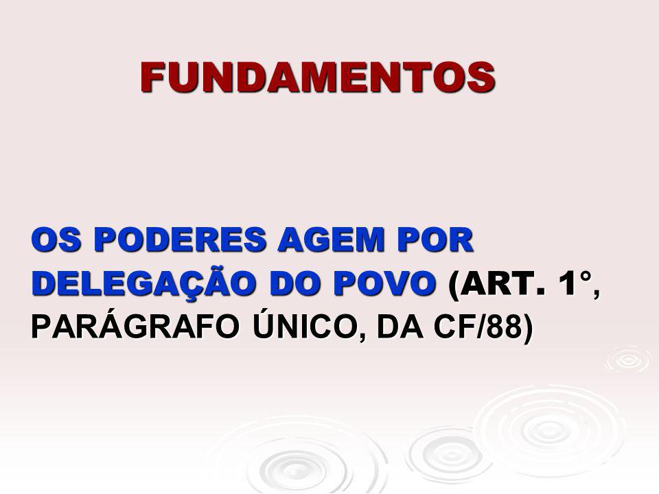 FUNDAMENTOS OS PODERES AGEM POR DELEGAÇÃO DO POVO (ART. 1°, PARÁGRAFO ÚNICO, DA CF/88)