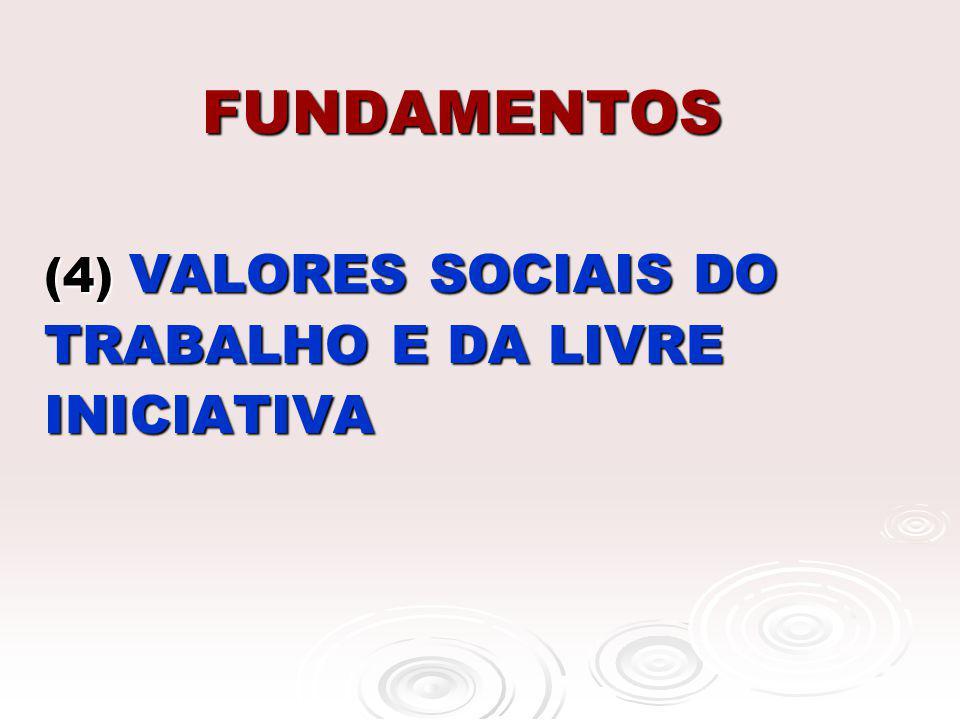 FUNDAMENTOS (4) VALORES SOCIAIS DO TRABALHO E DA LIVRE INICIATIVA