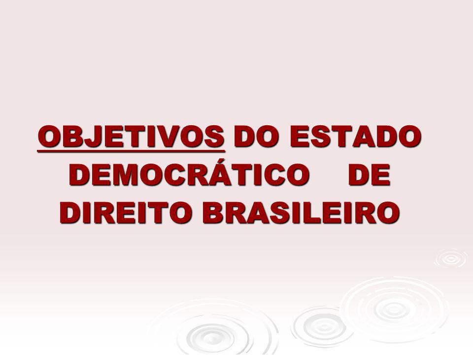 OBJETIVOS DO ESTADO DEMOCRÁTICO DE DIREITO BRASILEIRO