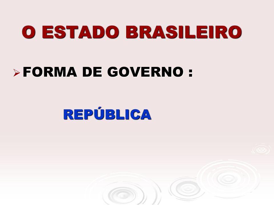 O ESTADO BRASILEIRO FORMA DE GOVERNO : REPÚBLICA
