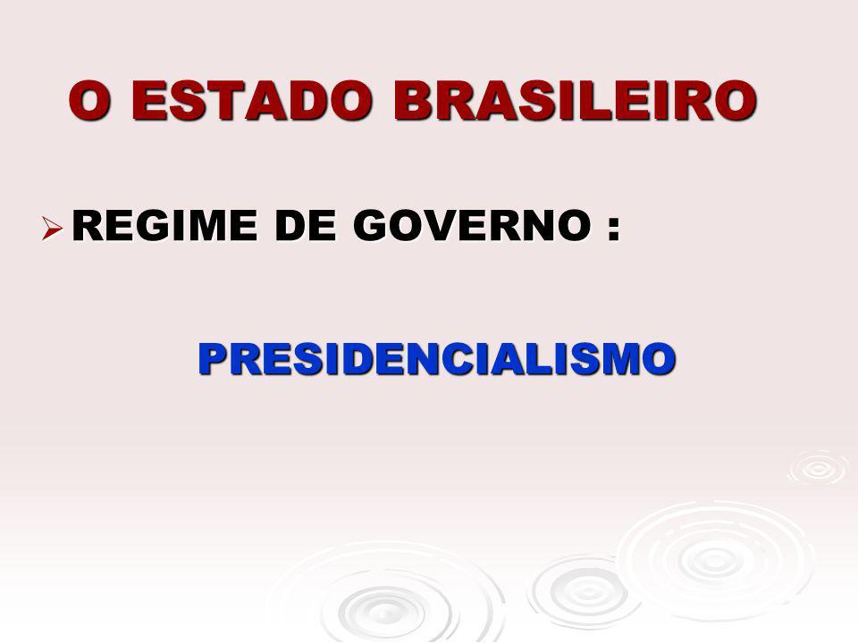 O ESTADO BRASILEIRO REGIME DE GOVERNO : PRESIDENCIALISMO