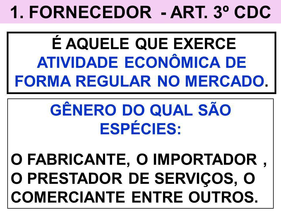 1. FORNECEDOR - ART. 3º CDC É AQUELE QUE EXERCE ATIVIDADE ECONÔMICA DE FORMA REGULAR NO MERCADO. GÊNERO DO QUAL SÃO ESPÉCIES: