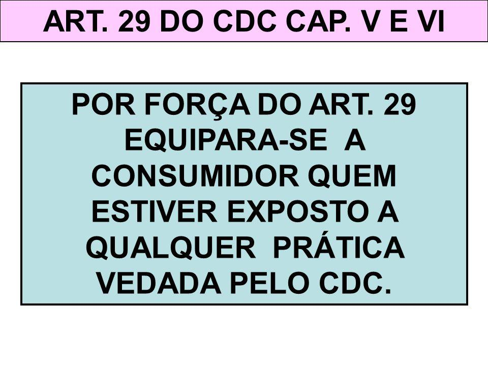 ART. 29 DO CDC CAP. V E VI POR FORÇA DO ART.