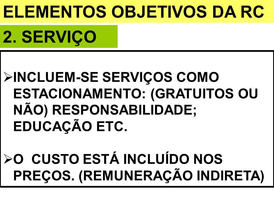 ELEMENTOS OBJETIVOS DA RC 2. SERVIÇO