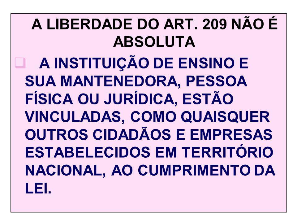 A LIBERDADE DO ART. 209 NÃO É ABSOLUTA