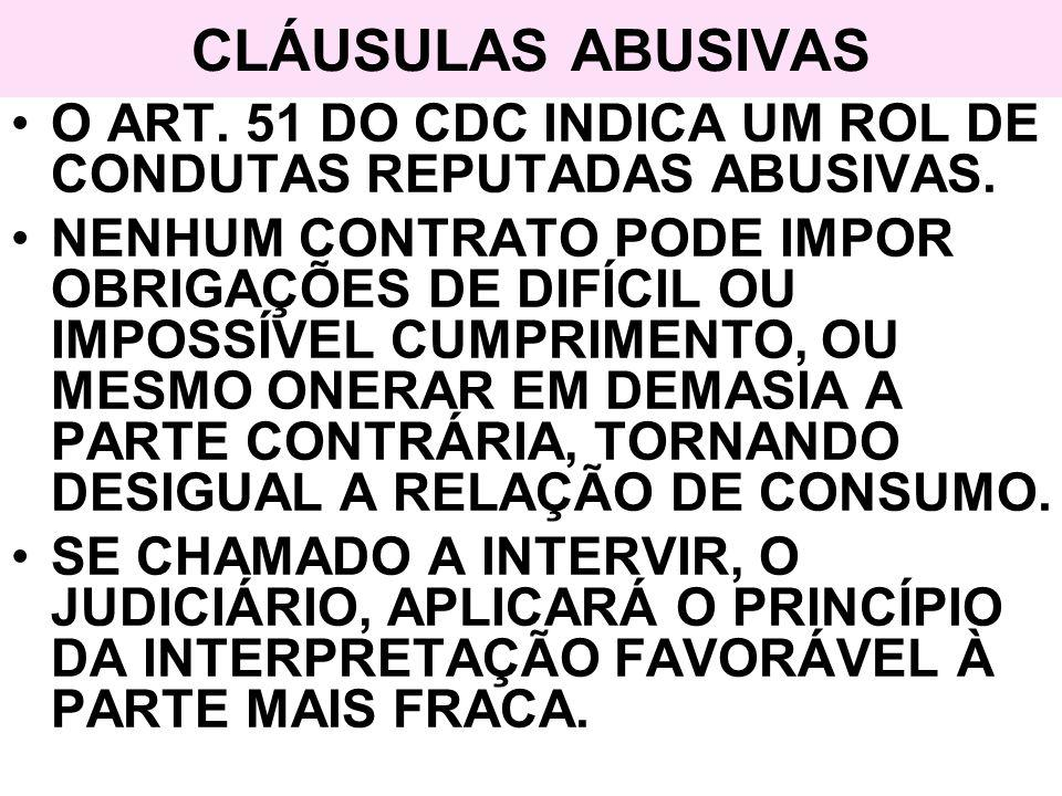 CLÁUSULAS ABUSIVAS O ART. 51 DO CDC INDICA UM ROL DE CONDUTAS REPUTADAS ABUSIVAS.