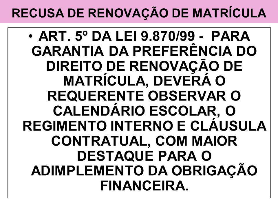 RECUSA DE RENOVAÇÃO DE MATRÍCULA