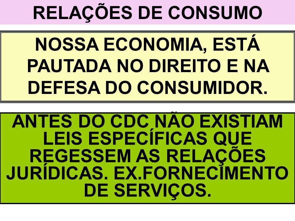 NOSSA ECONOMIA, ESTÁ PAUTADA NO DIREITO E NA DEFESA DO CONSUMIDOR.
