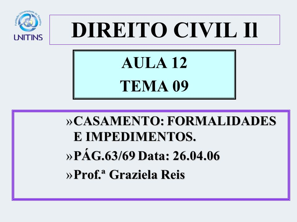 DIREITO CIVIL Il AULA 12 TEMA 09