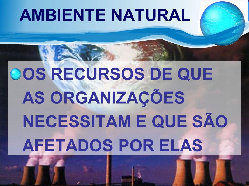 AMBIENTE NATURAL OS RECURSOS DE QUE AS ORGANIZAÇÕES NECESSITAM E QUE SÃO AFETADOS POR ELAS