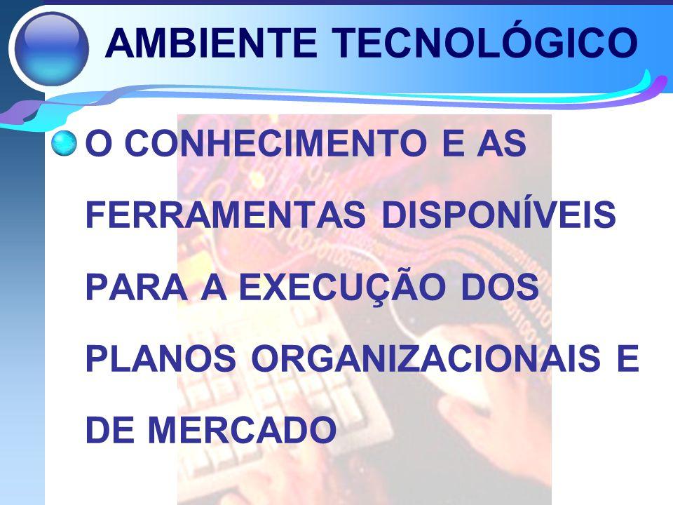 AMBIENTE TECNOLÓGICO O CONHECIMENTO E AS FERRAMENTAS DISPONÍVEIS PARA A EXECUÇÃO DOS PLANOS ORGANIZACIONAIS E DE MERCADO.