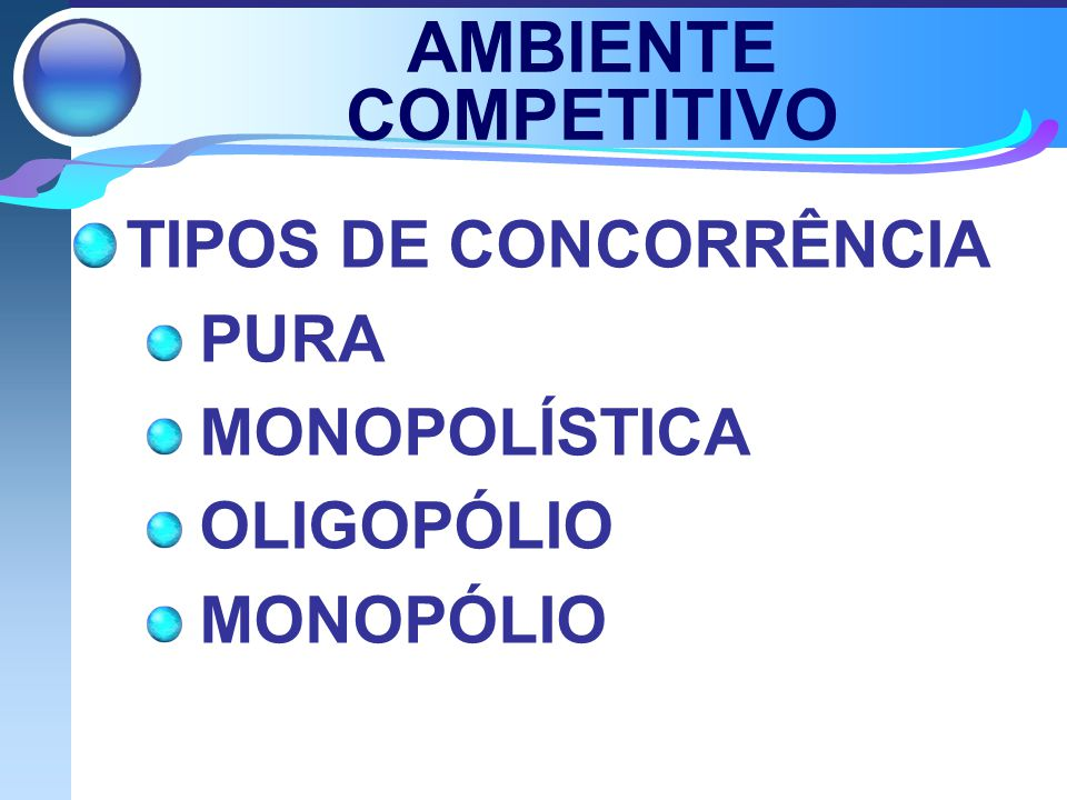 AMBIENTE COMPETITIVO TIPOS DE CONCORRÊNCIA PURA MONOPOLÍSTICA