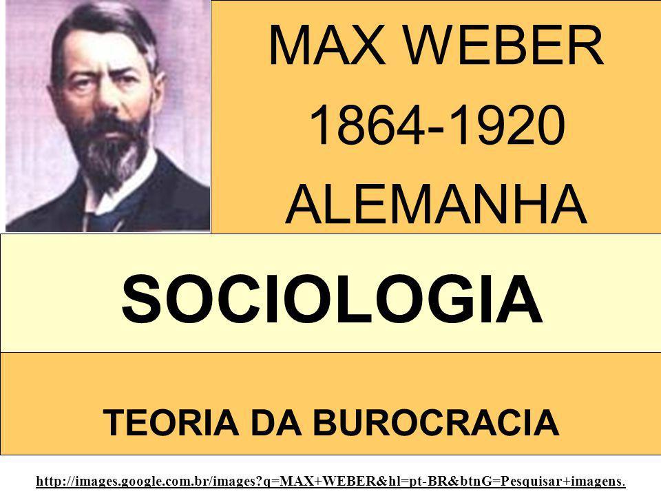 SOCIOLOGIA MAX WEBER 1864-1920 ALEMANHA TEORIA DA BUROCRACIA