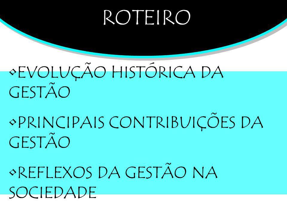 ROTEIRO EVOLUÇÃO HISTÓRICA DA GESTÃO