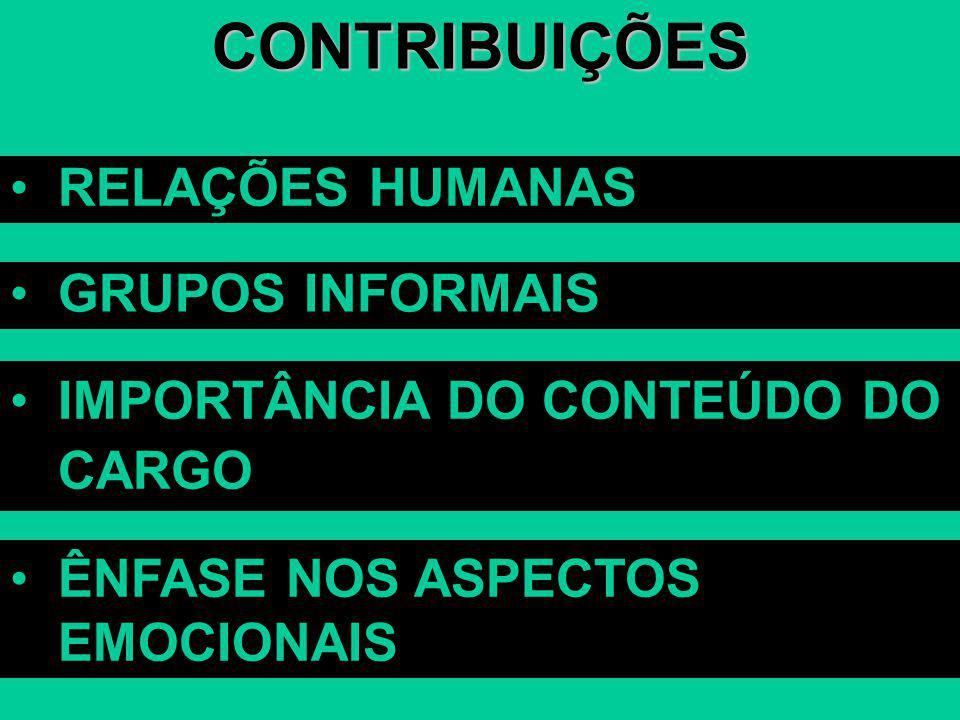 CONTRIBUIÇÕES RELAÇÕES HUMANAS GRUPOS INFORMAIS