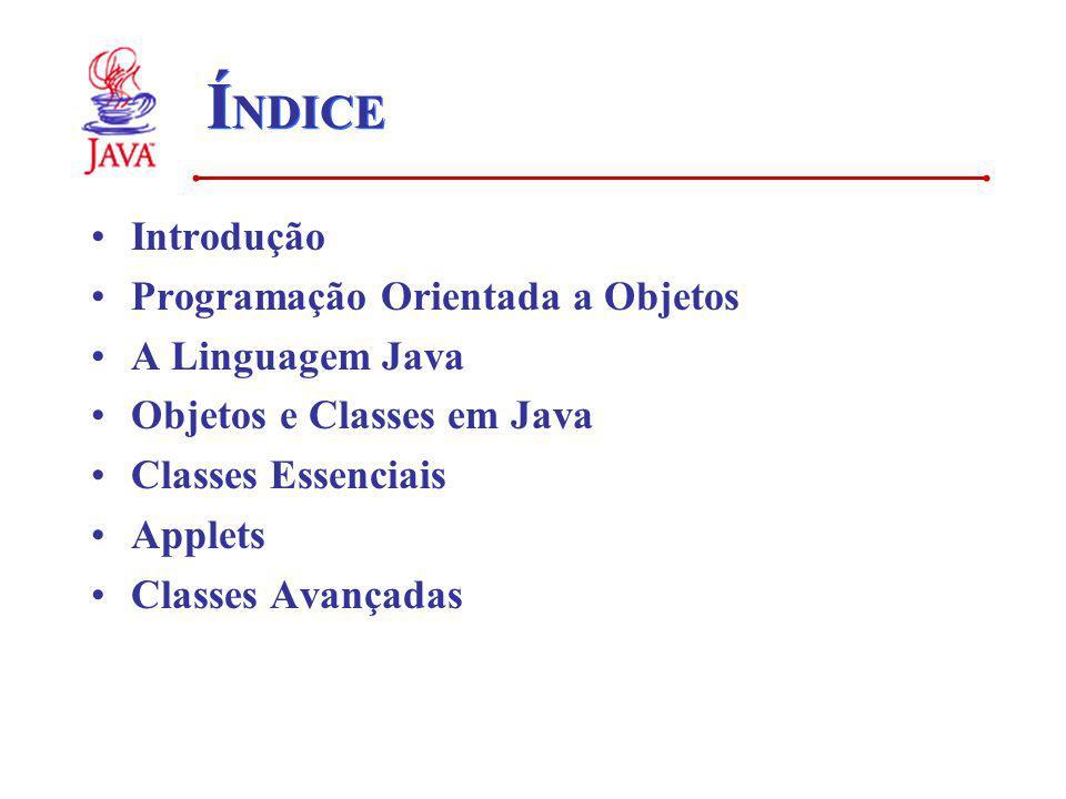 ÍNDICE Introdução Programação Orientada a Objetos A Linguagem Java