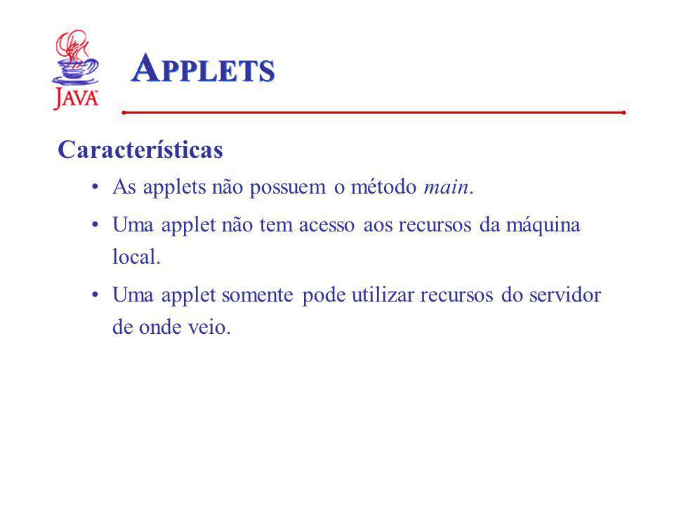 APPLETS Características As applets não possuem o método main.