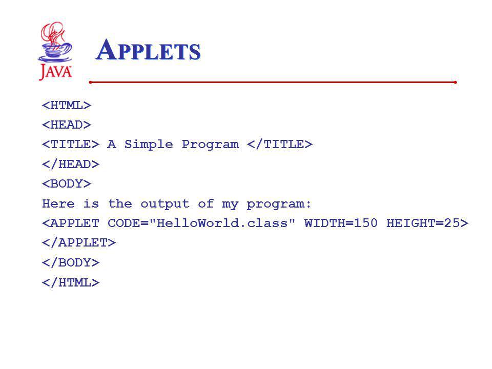 APPLETS <HTML> <HEAD>