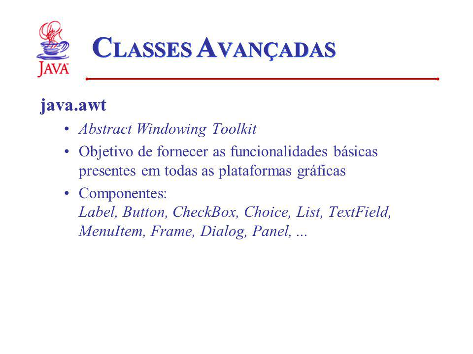 CLASSES AVANÇADAS java.awt Abstract Windowing Toolkit