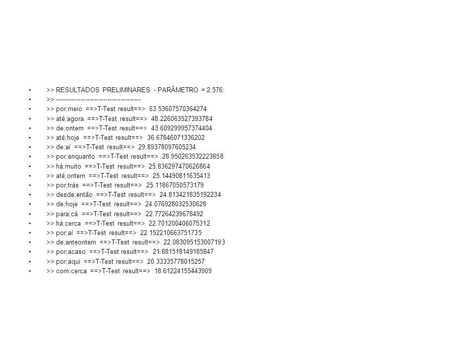 >> RESULTADOS PRELIMINARES - PARÂMETRO = 2,576: