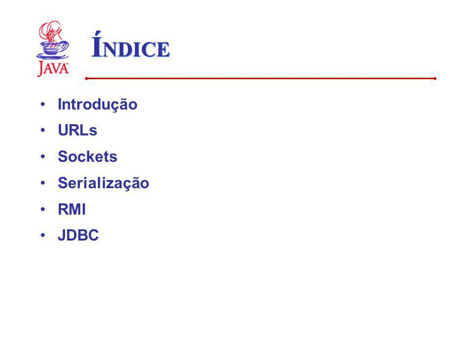 ÍNDICE Introdução URLs Sockets Serialização RMI JDBC