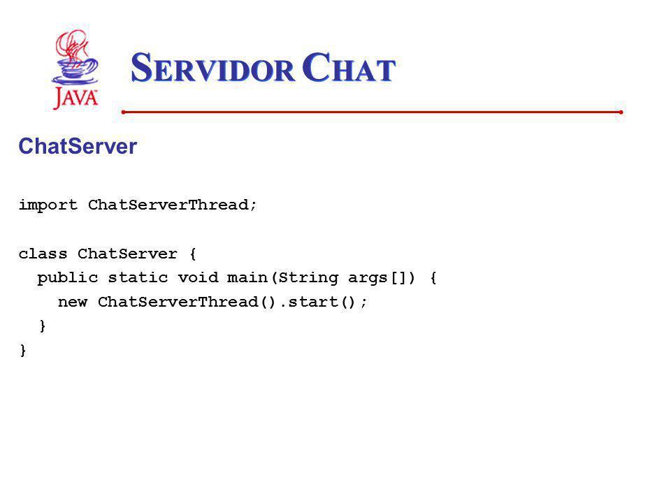 SERVIDOR CHAT ChatServer import ChatServerThread; class ChatServer {