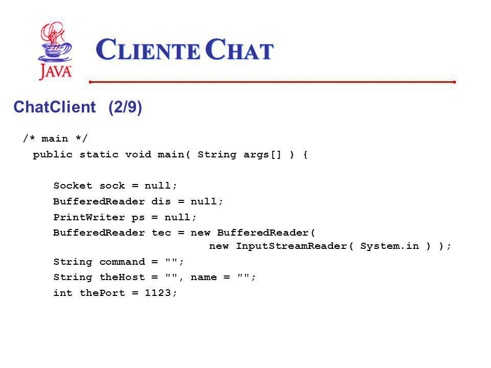 CLIENTE CHAT ChatClient (2/9) /* main */