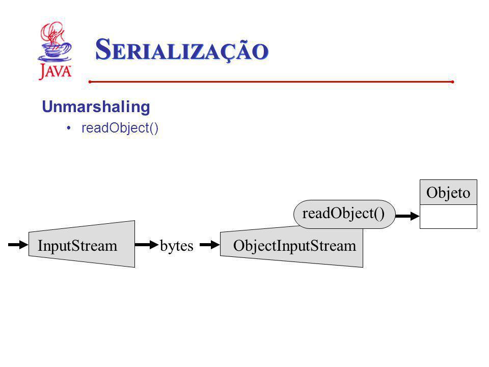SERIALIZAÇÃO Unmarshaling Objeto readObject() InputStream bytes