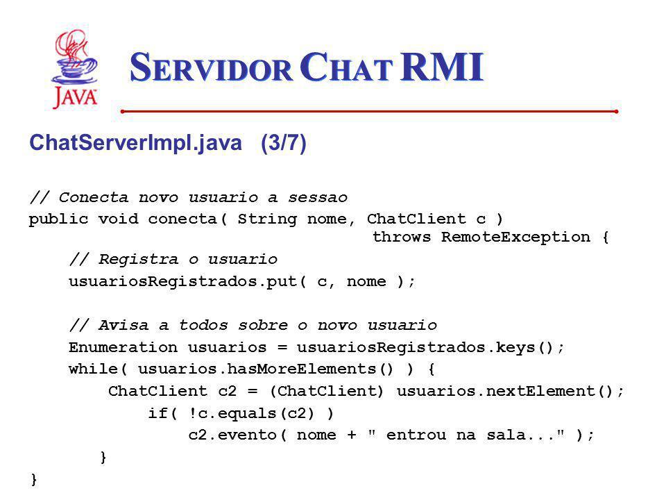 SERVIDOR CHAT RMI ChatServerImpl.java (3/7)