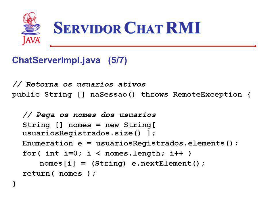 SERVIDOR CHAT RMI ChatServerImpl.java (5/7)