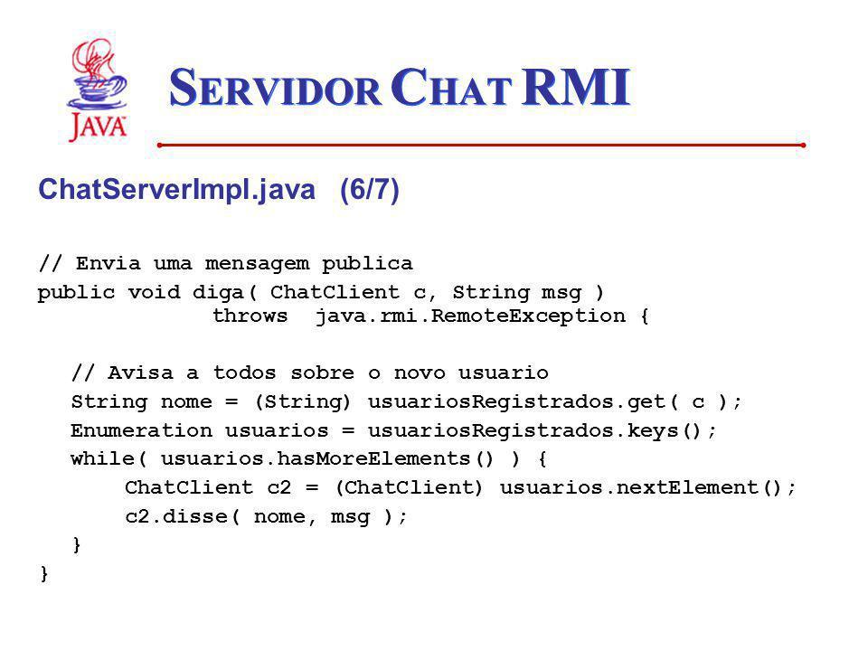 SERVIDOR CHAT RMI ChatServerImpl.java (6/7)