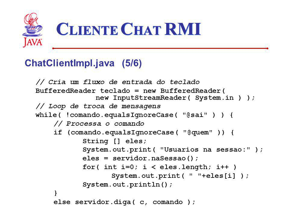 CLIENTE CHAT RMI ChatClientImpl.java (5/6)