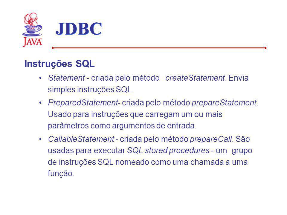 JDBC Instruções SQL. Statement - criada pelo método createStatement. Envia simples instruções SQL.