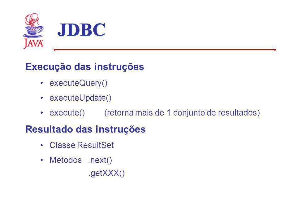 JDBC Execução das instruções Resultado das instruções executeQuery()