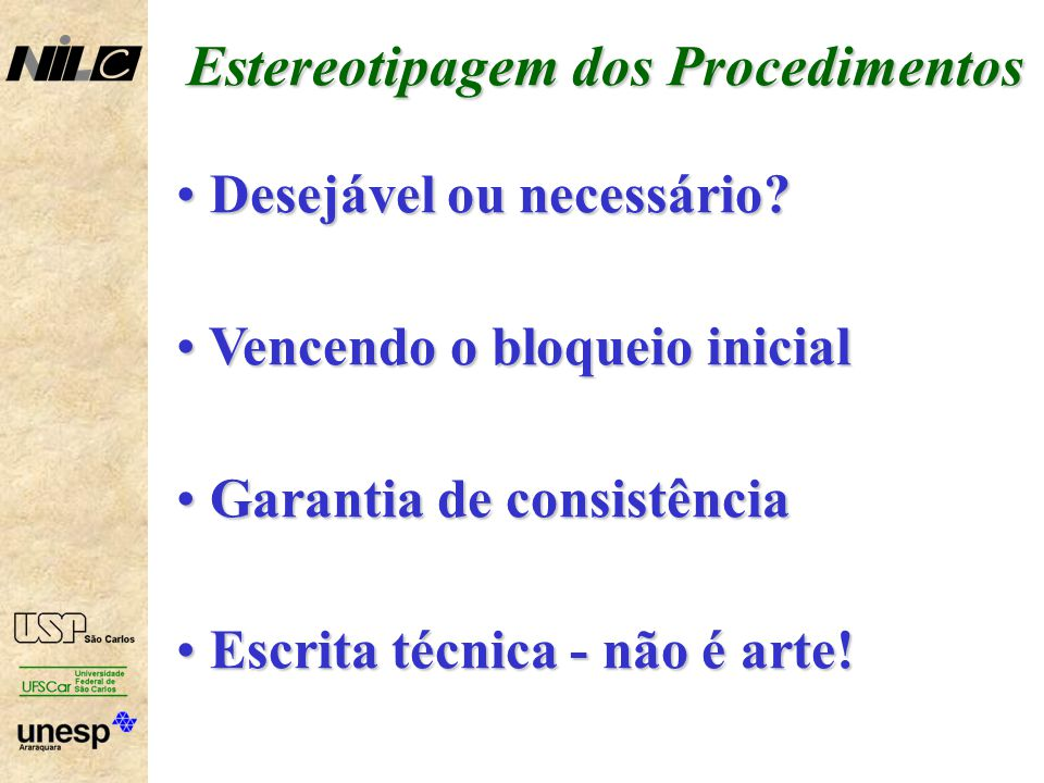 Estereotipagem dos Procedimentos