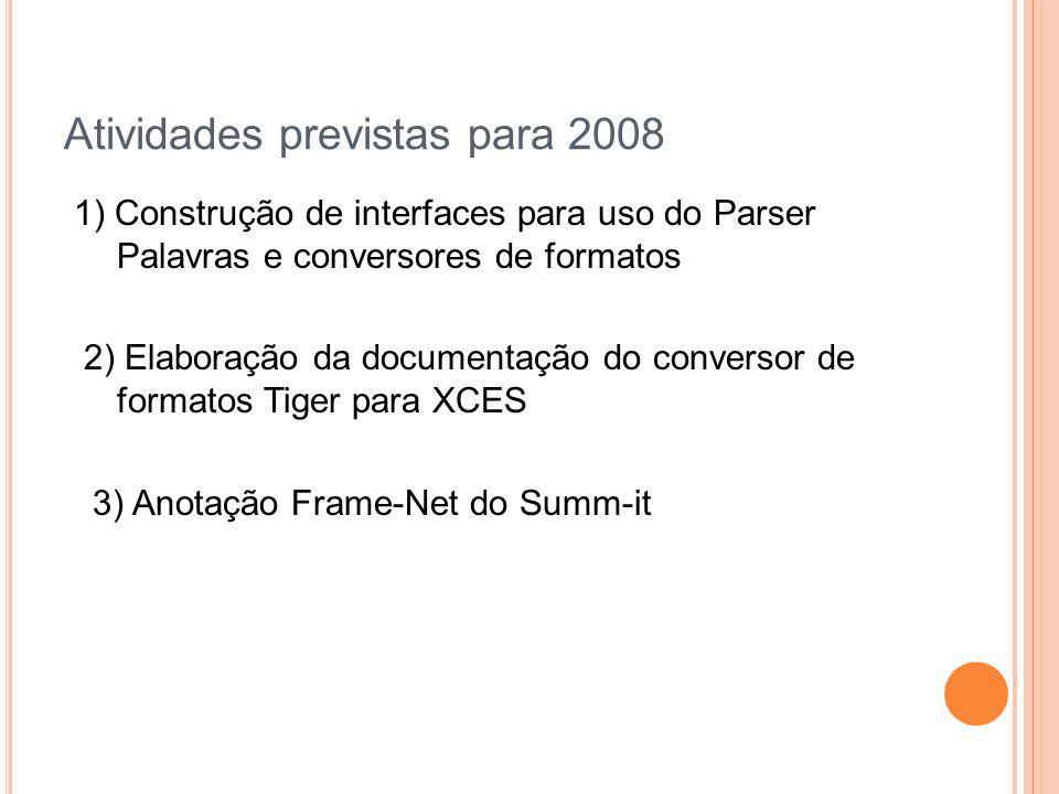 Atividades previstas para 2008