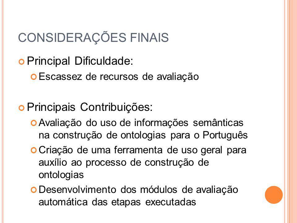 CONSIDERAÇÕES FINAIS Principal Dificuldade: Principais Contribuições: